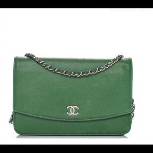 Chanel Green Caviar Sevruga Wallet on Chain WOC